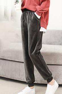 1803#秋冬加厚加绒金丝绒运动裤女宽松韩版黄金绒哈伦裤休闲卫裤