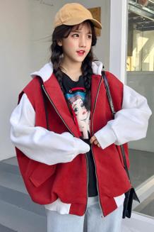 7879#(实拍)冬季新款韩版假两件连帽拼色卫衣外套女   已出货