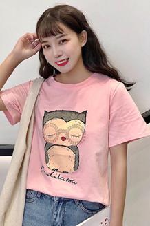 (模特实拍 棉95% 氨纶5%) 卡通猫头鹰印花闺蜜装纯棉短袖T恤女