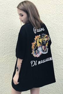 8004#官图 原宿BF风落肩印花老虎夏季短袖T恤 (牛奶丝)