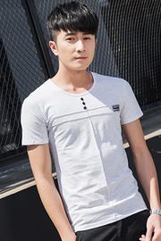 3501#【实拍】2018夏季男士短袖t恤圆领半袖白体恤潮男装上衣纯色