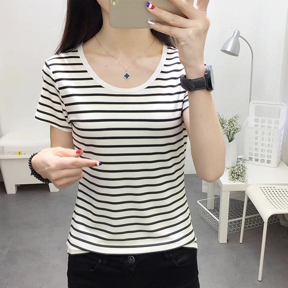 830#实拍(出货)纯棉圆领修身条纹短袖T恤夏 S-XXL(95棉5氨纶)