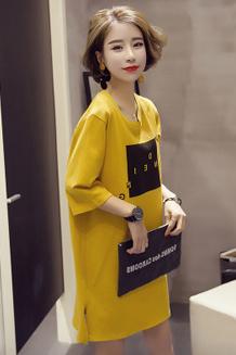 春夏装2018新款潮韩版半袖t恤女宽松中长款短袖开叉连衣裙
