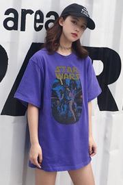 812#(6535棉实拍)有小视频印花中长款韩版chi五分袖t恤女