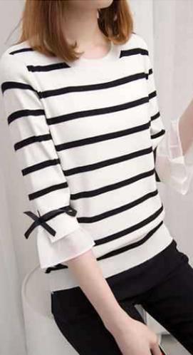 806#中袖毛针织衫女套头衫短款条纹打底衫秋装新款宽松喇叭袖上衣