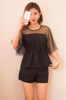 2018夏装新款女装潮韩版时尚短裤小清新两件套夏季高腰显瘦套装女
