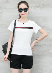 019#夏季韩版修身显瘦短裤短袖休闲套装女时尚跑步运动服两件套