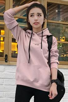 8879#250克#卫衣加绒加厚女冬季连帽套头韩版bf学生宽松保暖外套