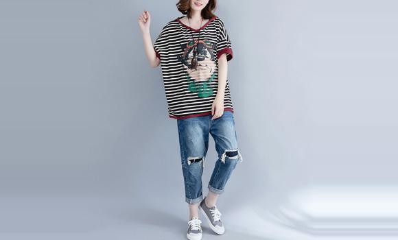 短袖t恤女装夏季新款韩版百搭中长款半袖条纹上衣服2018春打底衫