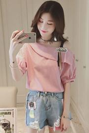 露肩T恤女短袖2017夏装新款潮学生半袖打底衫条纹百搭小衫上衣服