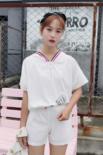 824#实拍#套装女宽松休闲T恤+运动短裤夏季韩版学生连帽两件套