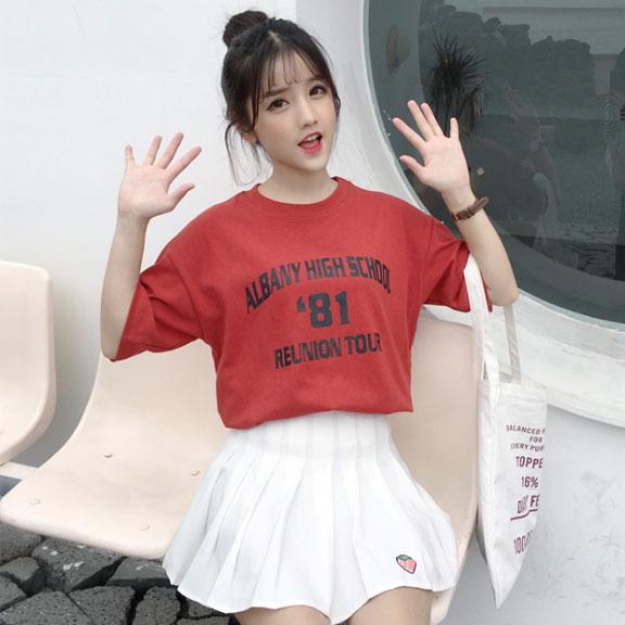 638#实拍 韩国ins复古字母印花原宿风bf新款短袖t恤
