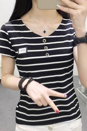 832#实拍(出货)纯棉V领修身条纹短袖T恤女 S-XXL(95棉5氨纶)