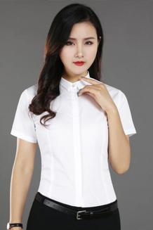 实拍2018夏季短袖钻石扣白衬衫职业工作服修身打底衬衣女OL正装