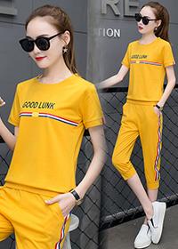 911#实拍【6535棉】夏新款韩版显瘦学生服大码短袖七分裤两件套女