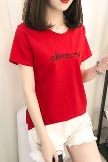 062#实拍(已出货)纯棉刺绣字母学生短袖T恤女(纯棉95棉5氨纶)