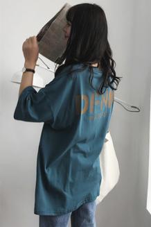 (3月19出货)3315【模特实拍】原创开叉背面撞色字母印花中长款T恤