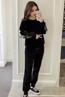 2017冬季加厚加绒金丝绒运动套装女韩版刺绣双面绒休闲两件套