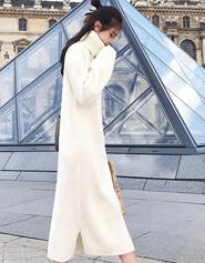 2017冬装新款高领套头宽松白色毛衣加厚秋冬内搭连衣裙过膝女学生