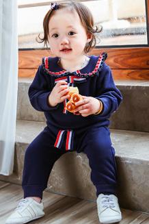 秋冬韩新款女童花边领撞色长袖休闲抓绒套装可开裆中小童加绒套装
