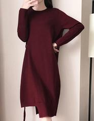 长款连衣裙女2017韩版新款圆领长袖气质时尚修身打底针织保暖长裙