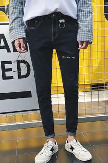 秋季韩版牛仔潮流简约绣花吊圈圈男修身长裤男士九分裤学生小脚裤