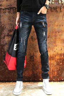 秋季弹力牛仔裤男士韩版修身型青少年小脚裤潮男装休闲男裤长裤子