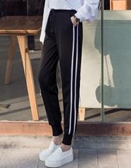 【实拍】2018春夏新款韩版bf风原宿九分哈伦裤休闲运动裤女