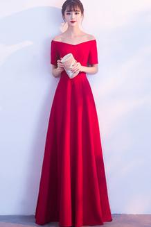 敬酒服长裙2018新款优雅晚礼服长款女性感公主一字肩连衣裙
