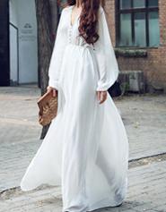 复古文艺范原创长裙春夏新款超长雪纺连衣裙长袖V领女裙子