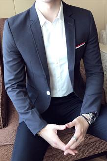 西装男外套秋季西服男士英伦上衣单西韩版修身小西装潮411-1-F30