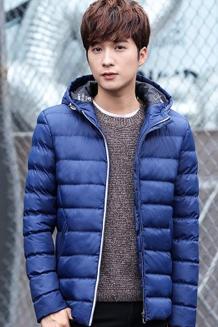 冬季棉衣男 青年韩版修身加厚连帽男士棉服中长款外套