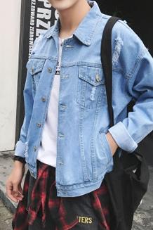 2017春秋水洗破洞复古牛仔夹克韩版短款牛仔褂浅蓝色潮流男士外套