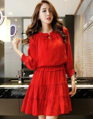 6931(实拍)2017红色大码女装修身显瘦收腰长袖韩版雪纺中裙连衣裙