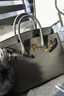 【林珊珊】时髦气质UPUP 百搭大容量的黑灰两色铂金手提包