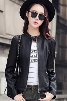 2017春秋季新款机车皮衣女短款韩版pu皮夹克修身短外套潮立领女装