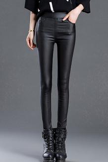 新款外穿打底裤女装显瘦高腰加长哑光韩版小脚薄防水皮裤女
