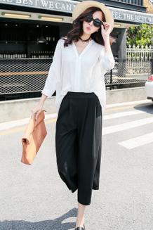 2016春夏新款韩版修身宽松大码女装短袖上衣棉麻衬衣阔腿裤套装