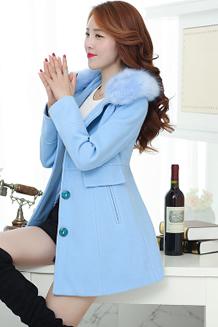 韩版宽松粉色女中长款长袖羊毛呢外套茧型呢子大衣潮时尚百搭加厚