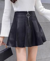 1872#实拍 秋冬 新款 百搭 高腰 显瘦 PU皮裙 伞裙 半身裙 短裙