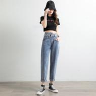 哈伦牛仔长裤女士2020年新款宽松高腰cec垂感直筒显瘦阔腿ins潮