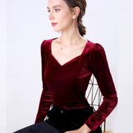 1997# (實拍) 新款絲絨復古V領修身顯瘦百搭長袖打底衫女T恤