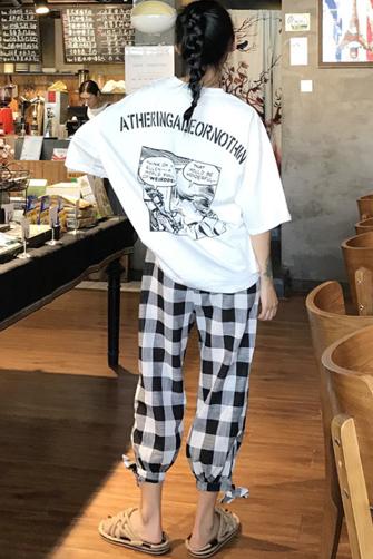7711#港味套装女学生宽松短袖漫画T恤+格子裤子网红社会两件套