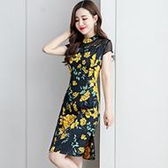 现货连衣裙夏2020年新款韩版修身气质复古文艺中长款改良旗袍裙