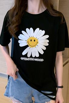 40支纯棉奥代尔2020夏装小V家原模特5106#实拍小雏菊破洞短袖T恤