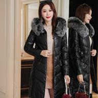2019韓版冬季新款中長羽絨棉服PU皮真狐貍毛領皮棉衣加厚皮衣外套