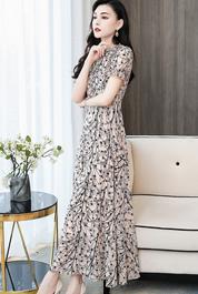 实拍2703#碎花短袖袖雪纺连衣裙2020夏季新款中长款裙子薄款潮