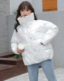 棉服2020秋冬新款爆款亮面羽绒棉衣短款炫彩棉袄韩版宽松面包服女