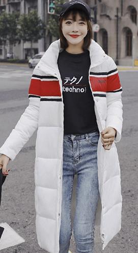 实拍2018新款秋冬装羽绒服女韩版中长款拼色棉服情侣装学生外套潮