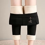 实拍视频 羊羔绒女外穿高腰加绒加厚打底裤弹力显瘦保暖棉裤10218